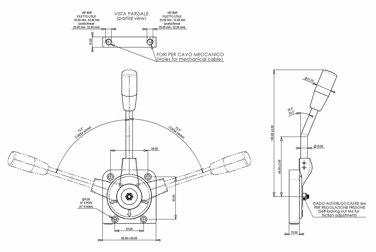 Friction Control Lever : Hand throttle lever